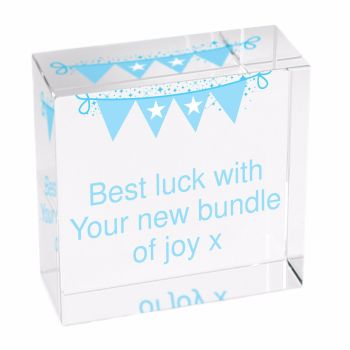 Personalised Bunting Glass Block / Token - Medium