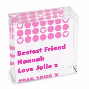 Personalised Crystal Token - Medium - Spots Pink
