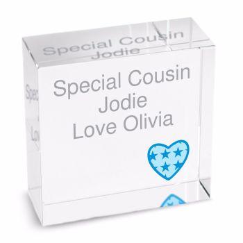 Personalised Crystal Token - Medium - Blue  Heart