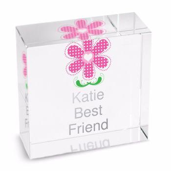 Personalised Crystal Token - Medium - Pink Flower