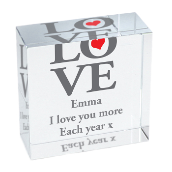 Personalised Crystal Token - Medium - LOVE