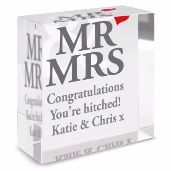Personalised Crystal Token - Medium - Mr & Mrs