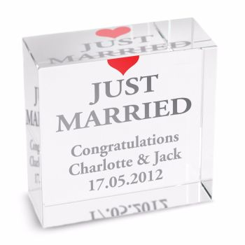 Personalised Crystal Token - Medium - Just Married
