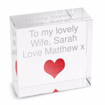Personalised Crystal Token - Medium - Red Heart