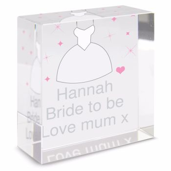 Personalised Crystal Token - Medium - Wedding Dress
