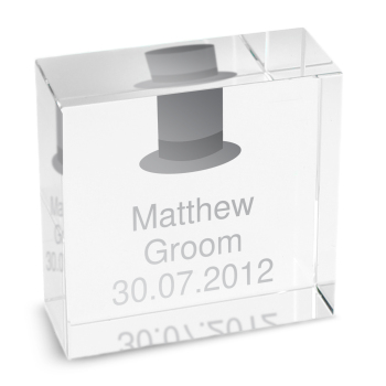 Personalised Crystal Token - Medium - Top Hat