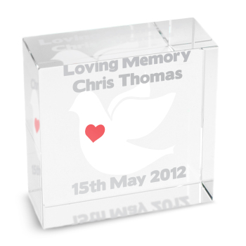 Personalised Dove Glass Block / Token - Medium