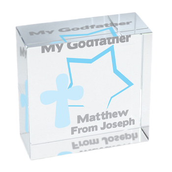 Personalised Star & Cross Glass Block / Token - Medium
