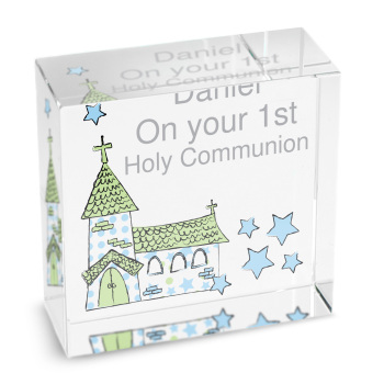 Personalised Blue Church Glass Block / Token - Medium