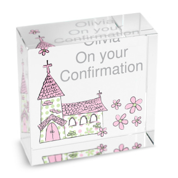 Personalised Pink Church Glass Block / Token - Medium