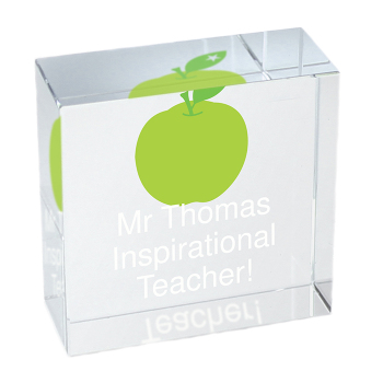 Personalised Crystal Token - Medium - Teacher's Apple - Thank You Teacher Gift