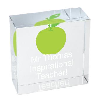Personalised Crystal Token - Medium - Teacher's Apple - Thank You Teacher Gift