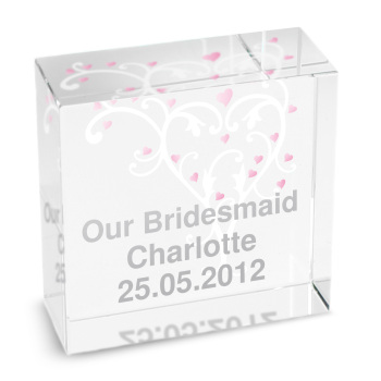 Personalised Crystal Token - Medium - Heart Swirl