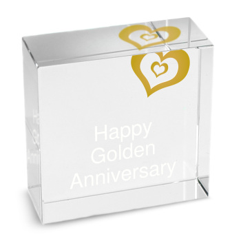 Personalised Crystal Token - Medium - Gold Heart