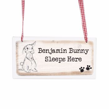 Personalised Rabbit Wooden Hanging Sign