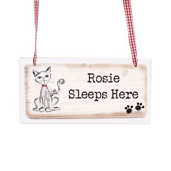 Personalised Cat Wooden Hanging Sign