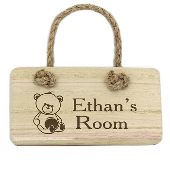 Personalised Wooden Hanging Sign - Teddy Bear Sign