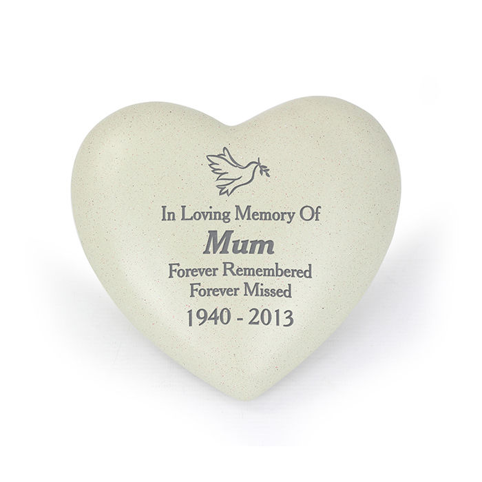Personalised Grave Memorial - Dove Heart