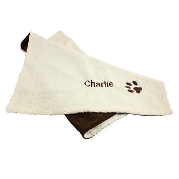 Personalised Luxury Dog Blanket - Dog Paw Print Fleece Blanket