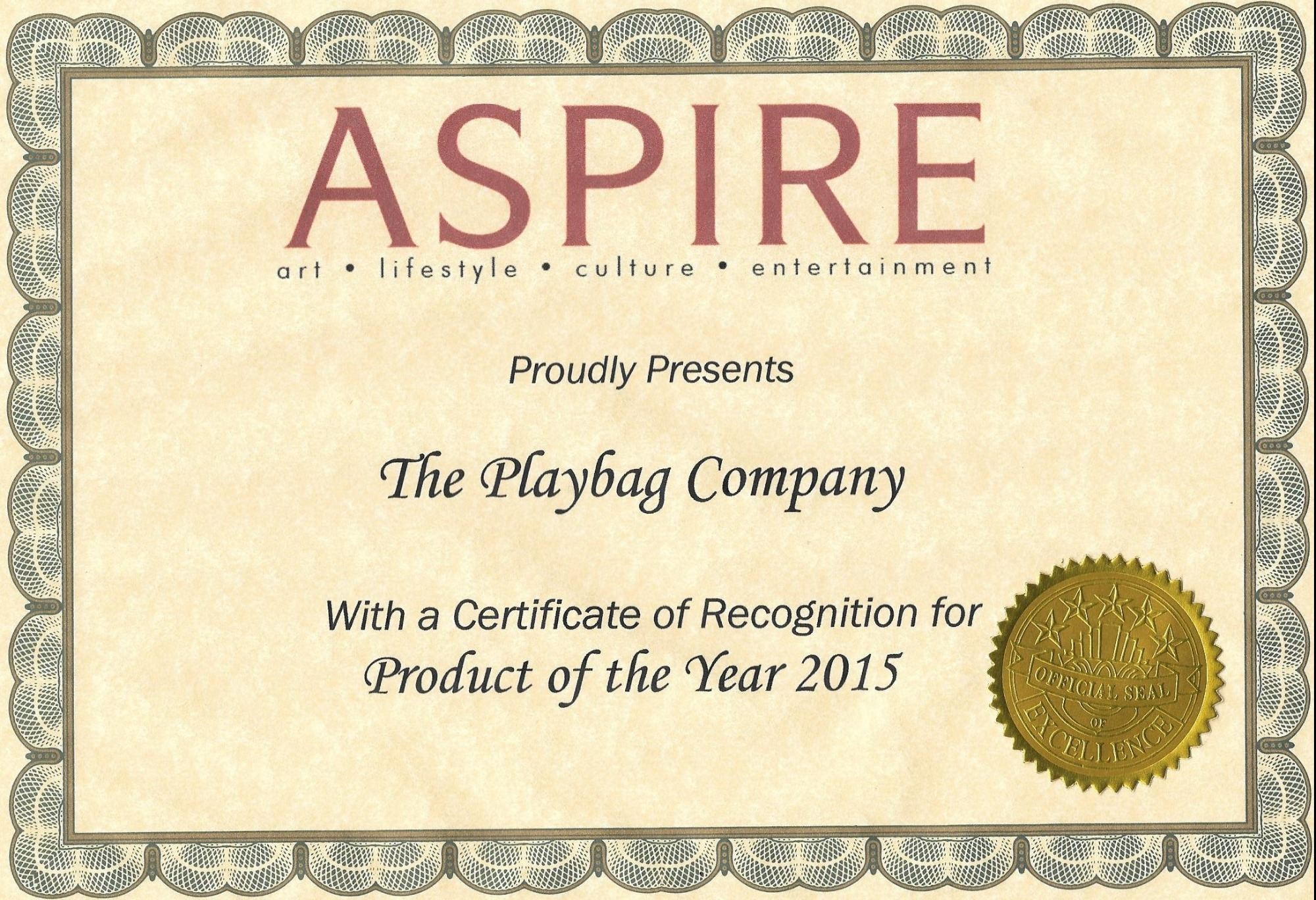 PlayBag awarded Product of the Year 2015 by Aspire Magazine