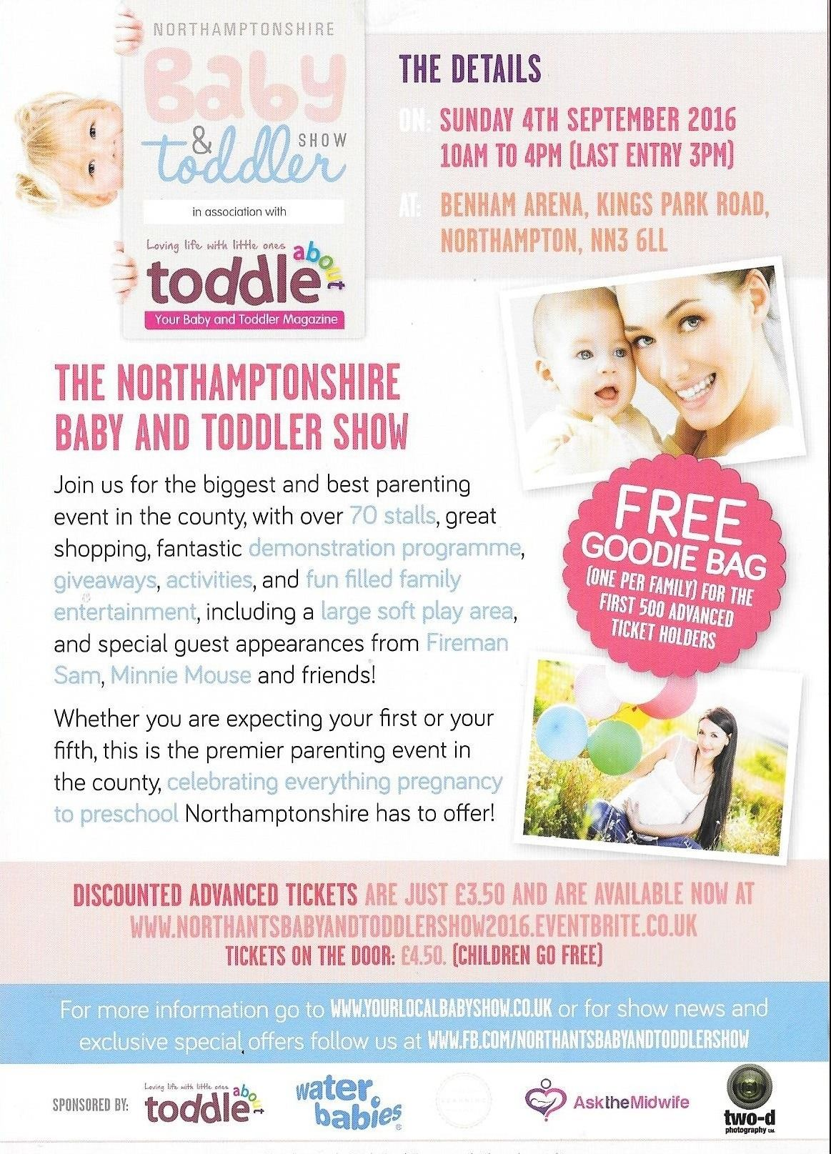 Leaflet for the Northants Baby and Toddler Show 2016