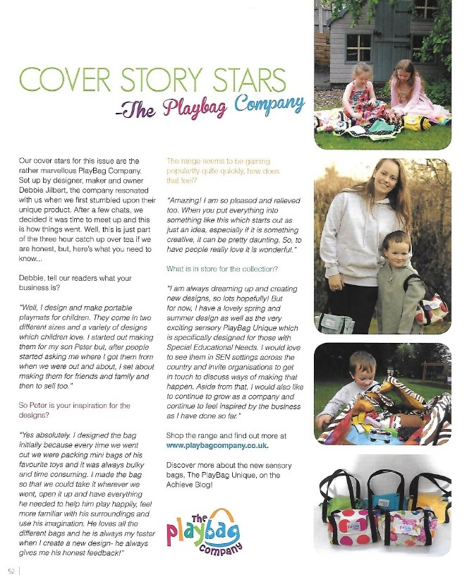 PlayBag Company in Cover Stars feature in Achieve Magazine