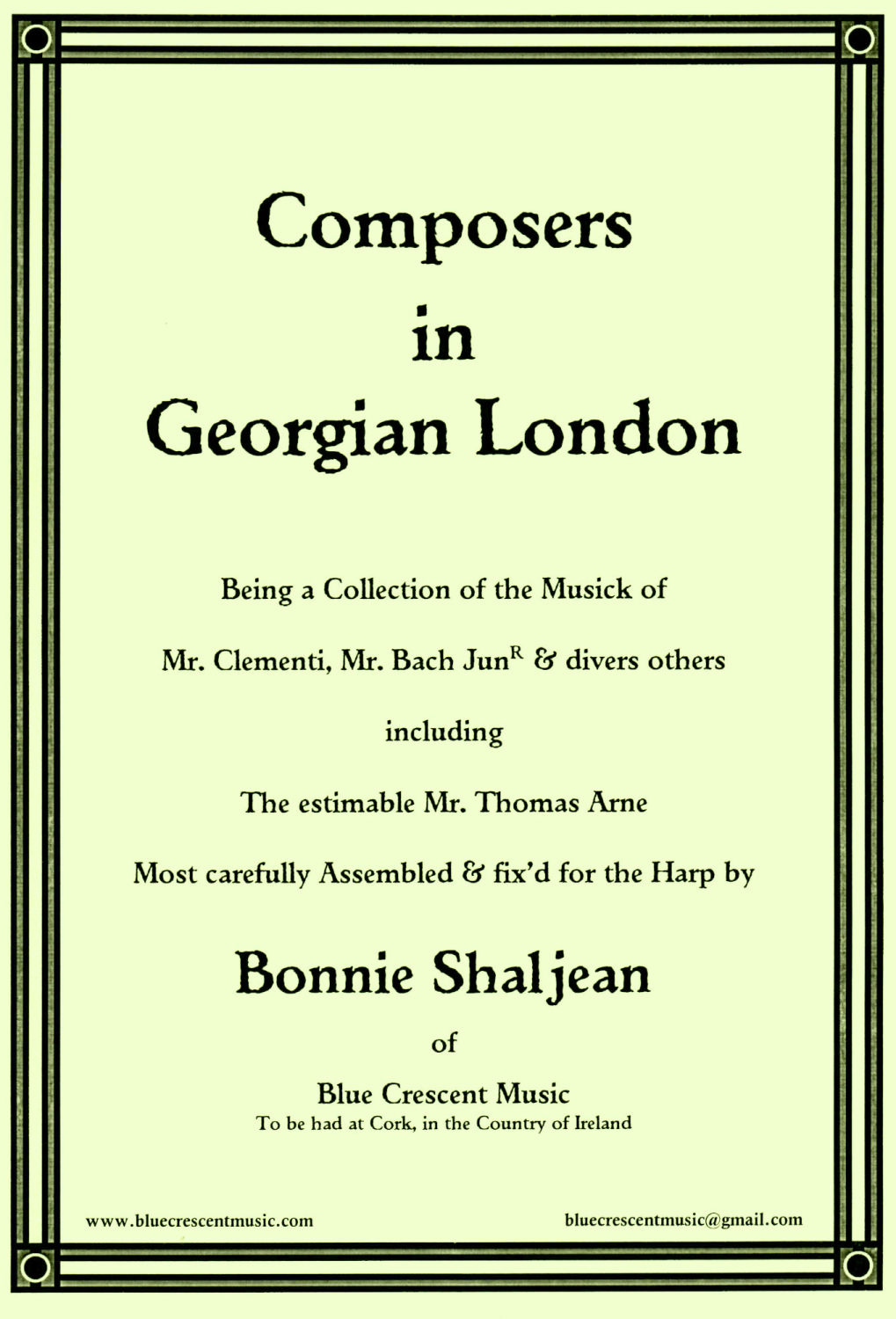 Composers in Georgian London - Edited by Bonnie Shaljean
