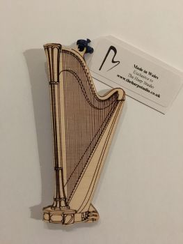 Wooden Harp Ornament - Pedal Harp