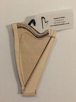 Wooden Harp Ornament - Lever Harp