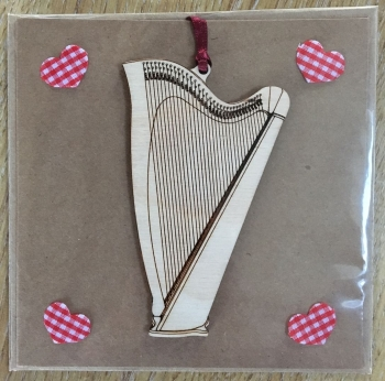 Greeting Card with Wooden Harp
