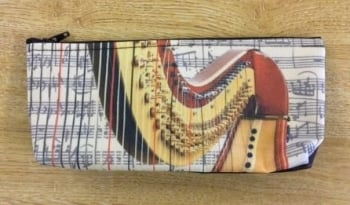 Pencil Case with Harp Design