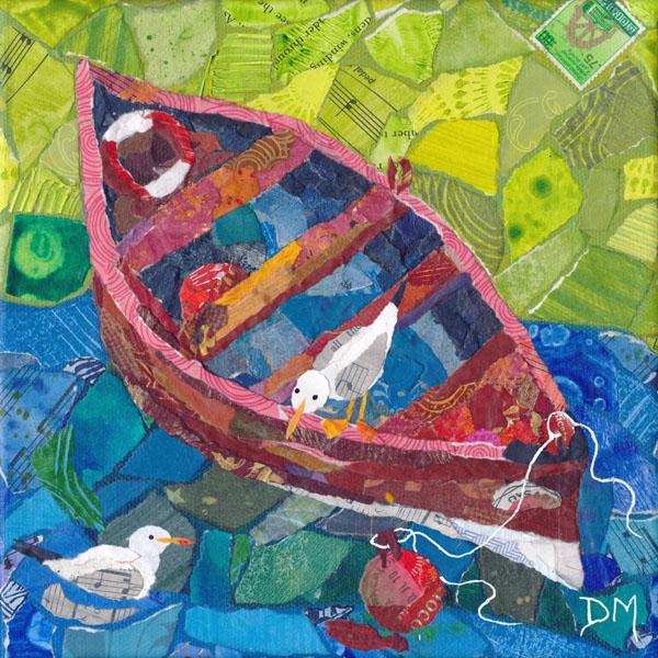 Dysart Boats and Seagulls Art Greetings Card