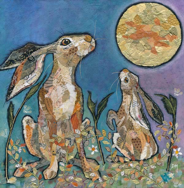 Moongazing Hares Art Print