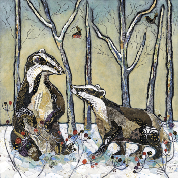 Badgers in Winter  - Large Print