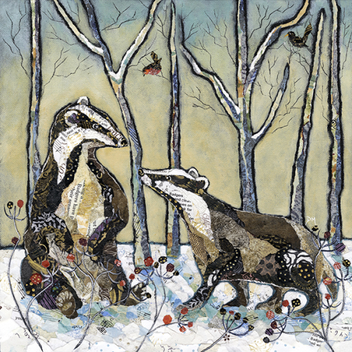Badgers in Winter  - Print