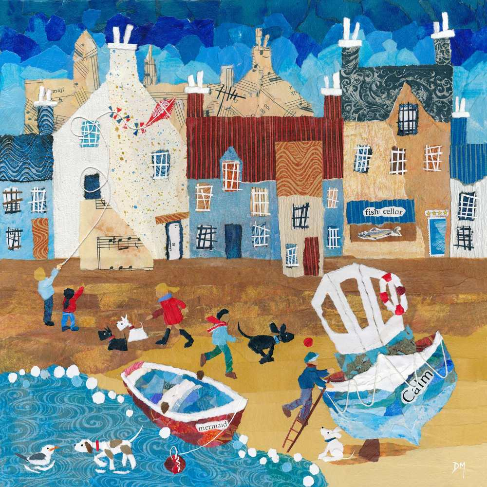 Coastal Beach Scene with Dogs, Boats and Gulls Art Greetings Card