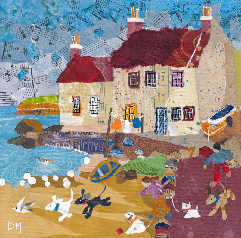 Pittenweem with Dogs On Beach Art Greetings Card