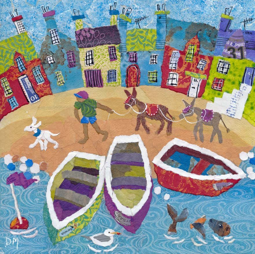 Naive Beach Scene with Donkeys, Boats and Dogs Art Greetings Card