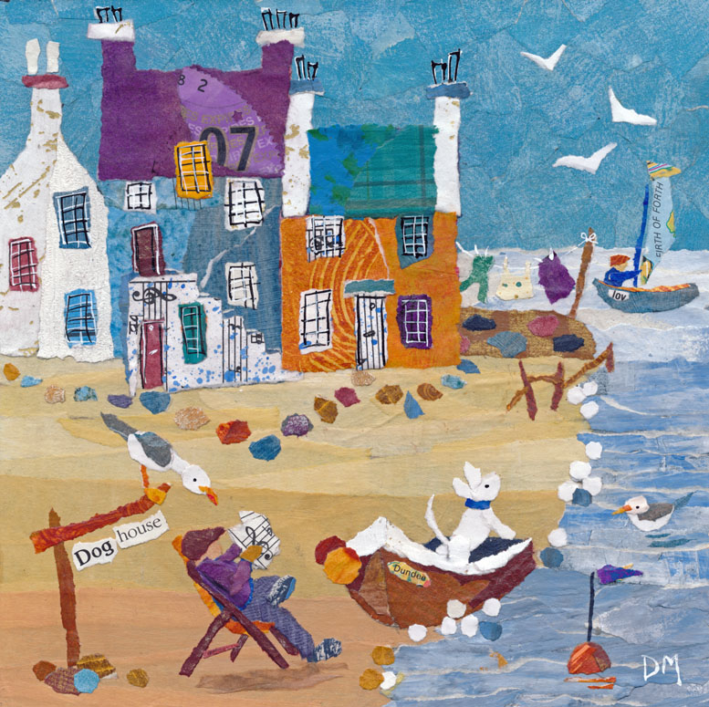 Beach Scene with Dog, Boats and Seagulls Art Greetings Card