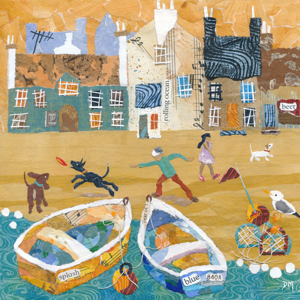 Naive Beach Scene with Dogs having Fun, Boats and Seagulls Art Card