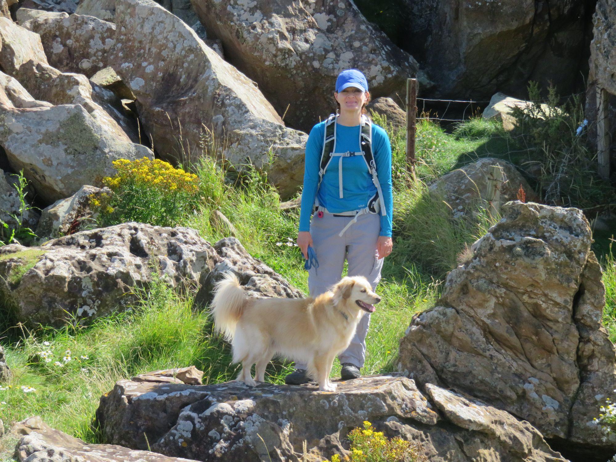 dawn and her dog sandy hiking