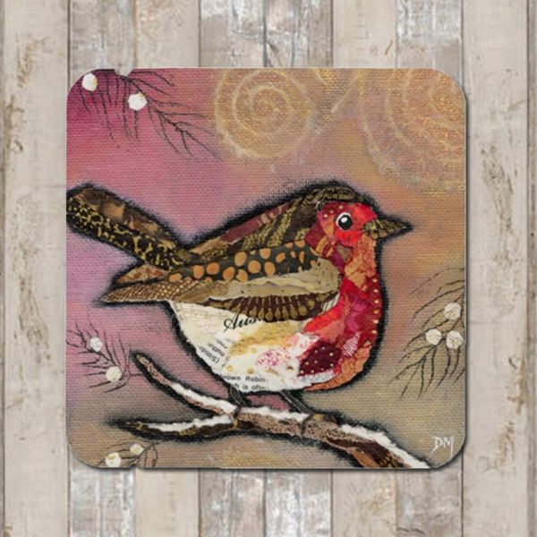 Robin on Blush Coaster Tablemat Placemat