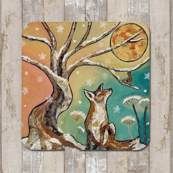 Fox and Moon Coaster Tablemat Placemat