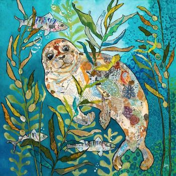 Deep Blue Seal - Embellished Print