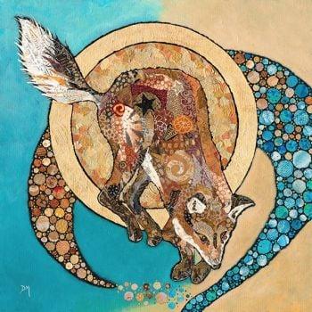 Fox & Golden Moon- Embellished Print