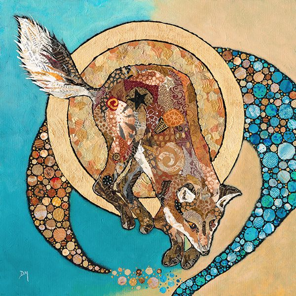 Fox & Golden Moon- Embellished Print