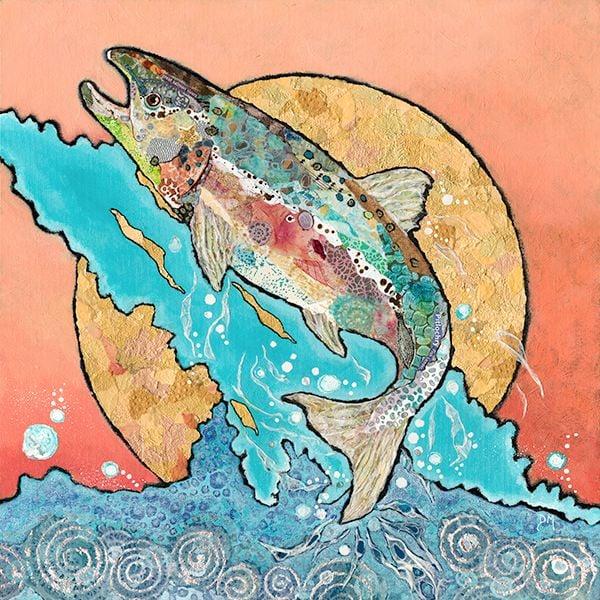 Salmon Leaping- Large Print