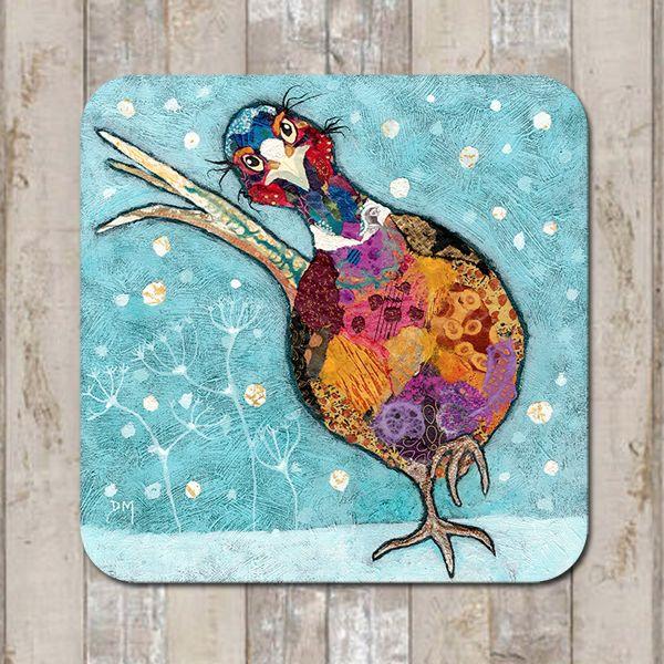 Snowshoe Shuffle Pheasant Coaster Tablemat Placemat