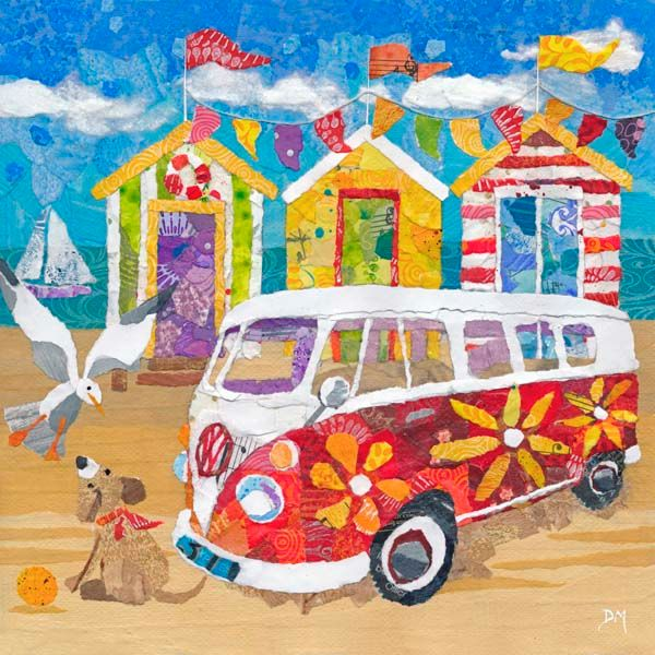 Hippy Campervan on the Beach Art Greetings Card