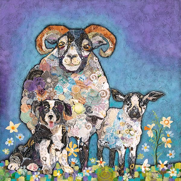 Sheep, Lamb & Dog Farm Art Print